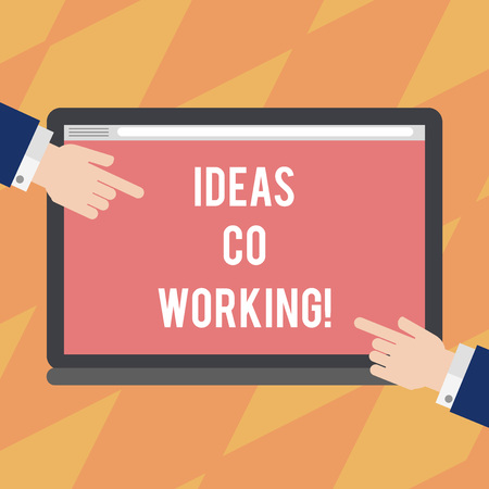 Text sign showing Ideas Co Working. Conceptual photo use of working environment by showing who are self employed Hu analysis Hands from Both Sides Pointing on a Blank Color Tablet Screen