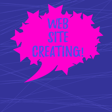 Text sign showing Web Site Creating. Conceptual photo create site layout content production and graphic design Blank Oval Color Speech Bubble with Stars as Outline photo Text Space