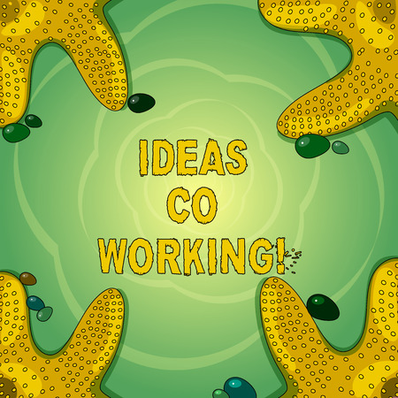 Conceptual hand writing showing Ideas Co Working. Business photo showcasing use of working environment by showing who are self employed Starfish on Four Corners with Pebbles for Poster Ads Cards