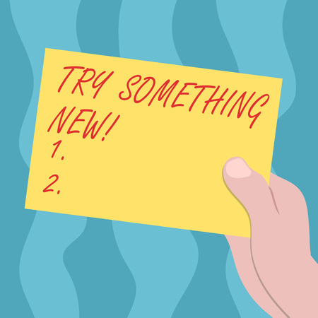 Conceptual hand writing showing Try Something New. Business photo text start doing anything you did not made or know before Drawn Hu analysis Hand Holding Blank Color Paper Cardboard