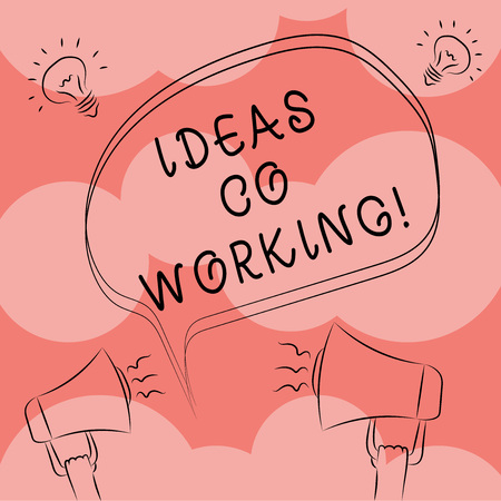 Writing note showing Ideas Co Working. Business photo showcasing use of working environment by showing who are self employed Freehand Outline Sketch of Speech Bubble Megaphone Idea Icon