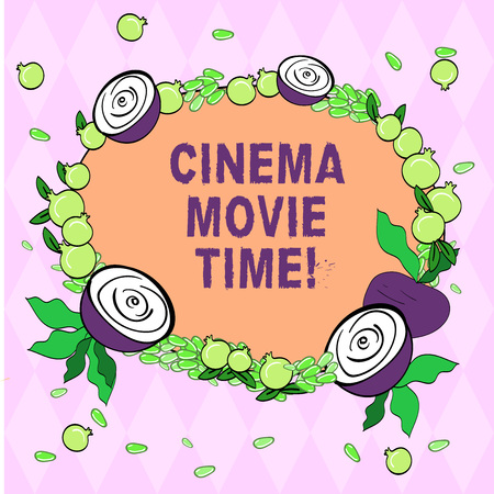 Writing note showing Cinema Movie Time. Business photo showcasing which entertainment such showing movie scheduled to start Floral Wreath made of Tiny Seeds Small Glossy Pomegranate and Cut Beet
