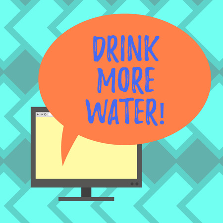 Text sign showing Drink More Water. Conceptual photo increase amount of drinking water required varies everyday Mounted Computer Monitor Blank Screen with Oval Color Speech Bubble