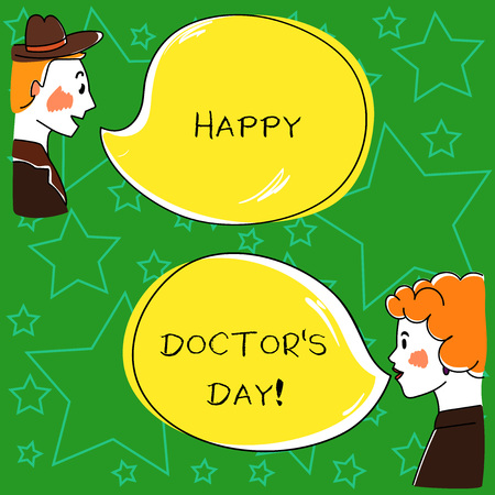 Conceptual hand writing showing Happy Doctor S Day. Business photo showcasing celebrated to recognize contributions physicians to lives Hand Wo analysis Talking photo with Color Speech Bubble