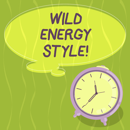 Writing note showing Wild Energy Style. Business photo showcasing made near from technologies impose no threat to wildlife Blank Color Thought Speech Bubble with Outline and Alarm Clock photo