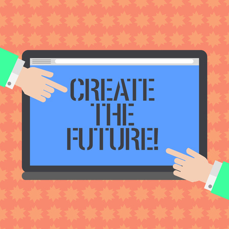 Writing note showing Create The Future. Business photo showcasing work really hard to achieve your dreams make come true Hu analysis Hands Pointing on a Blank Color Tablet Screen Stok Fotoğraf