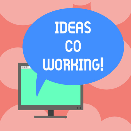 Writing note showing Ideas Co Working. Business photo showcasing use of working environment by showing who are self employed Mounted Computer Monitor Blank Screen with Oval Color Speech Bubble Banque d'images