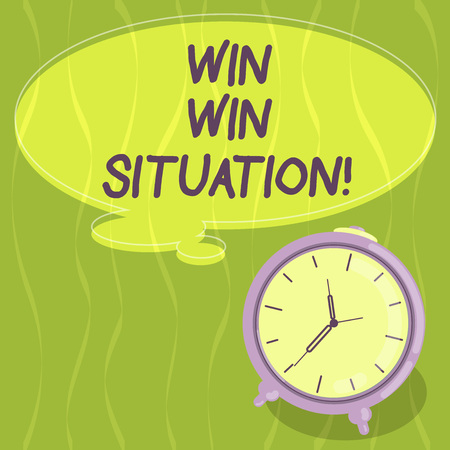 Writing note showing Win Win Situation. Business photo showcasing choice which is good for everyone who is involved Blank Color Thought Speech Bubble with Outline and Alarm Clock photo