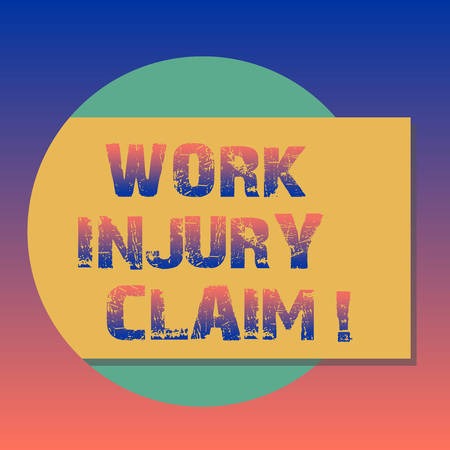 Handwriting text Work Injury Claim. Concept meaning insurance providing medical benefits to employees Blank Rectangular Color Shape with Shadow Coming Out from a Circle photo