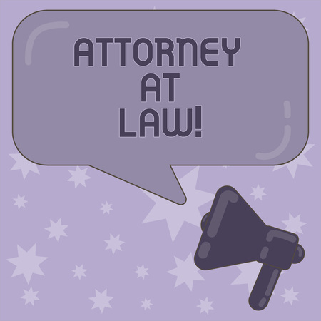 Writing note showing Attorney At Law. Business photo showcasing legal practitioner who deals with most of legal matters Megaphone and Rectangular Color Speech Bubble with Reflection Standard-Bild