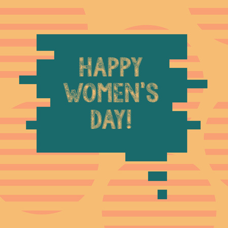 Word writing text Happy Women S Is Day. Business concept for day celebrated on March that celebrates woanalysishood Blank Color Speech Bubble in Puzzle Piece Shape photo for Presentation Ads 写真素材