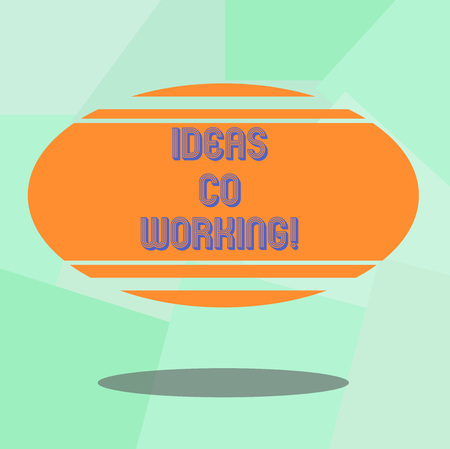 Conceptual hand writing showing Ideas Co Working. Business photo text use of working environment by showing who are self employed Blank Color Oval Shape with Horizontal Stripe Floating and Shadow