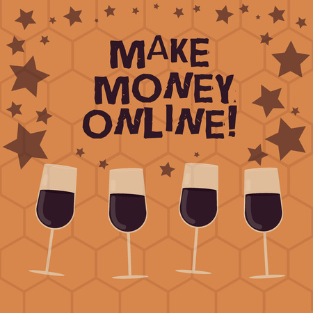 Writing note showing Make Money Online. Business photo showcasing obtain cash earning it or by making profit using internet Filled Cocktail Wine Glasses with Scattered Stars as Confetti Stemware