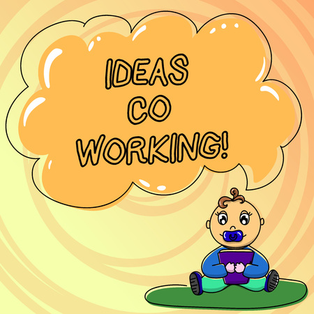 Writing note showing Ideas Co Working. Business photo showcasing use of working environment by showing who are self employed Baby Sitting on Rug with Pacifier Book and Cloud Speech Bubble