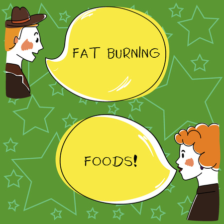 Conceptual hand writing showing Fat Burning Foods. Business photo showcasing Certain types of food burn calories as you chew them Hand Wo analysis Talking photo with Color Speech Bubble