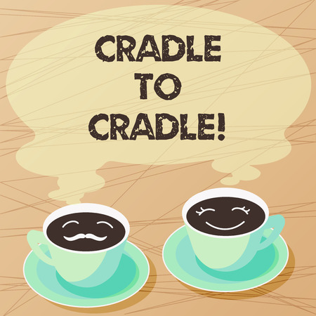 Writing note showing Cradle To Cradle. Business photo showcasing biomimetic approach to design of products and systems Sets of Cup Saucer for His and Hers Coffee Face icon with Blank Steam Фото со стока