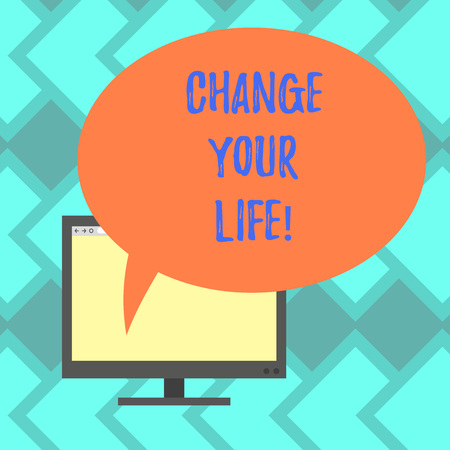 Text sign showing Change Your Life. Conceptual photo set life goals and reward yourself when you achieve them Mounted Computer Monitor Blank Screen with Oval Color Speech Bubble Фото со стока
