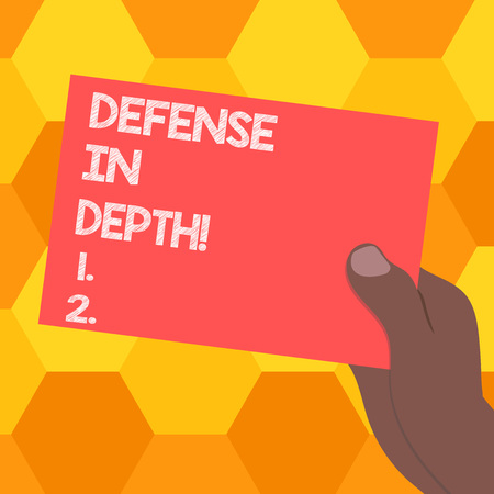 Handwriting text Defense In Depth. Concept meaning arrangement defensive lines or fortifications defend others Drawn Hu analysis Hand Holding Presenting Blank Color Paper Cardboard photo