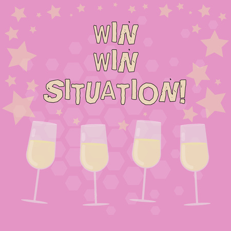 Text sign showing Win Win Situation. Conceptual photo choice which is good for everyone who is involved Filled Cocktail Wine Glasses with Scattered Stars as Confetti Stemware
