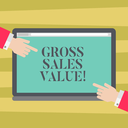 Text sign showing Gross Sales Value. Conceptual photo total transactions reported period without any deductions Hu analysis Hands from Both Sides Pointing on a Blank Color Tablet Screen