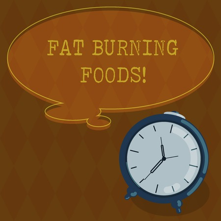 Handwriting text writing Fat Burning Foods. Concept meaning Certain types of food burn calories as you chew them Blank Color Thought Speech Bubble with Outline and Alarm Clock photo