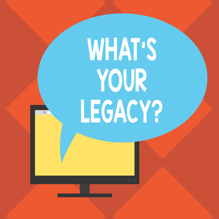 Handwriting text What S Your Legacy. Concept meaning gift that handed or conveyed from one demonstrating to another Mounted Computer Monitor Blank Screen with Oval Color Speech Bubble Фото со стока