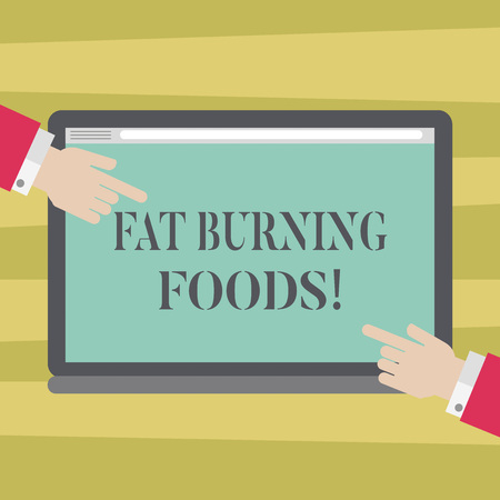 Text sign showing Fat Burning Foods. Conceptual photo Certain types of food burn calories as you chew them Hu analysis Hands from Both Sides Pointing on a Blank Color Tablet Screen Archivio Fotografico