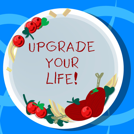 Conceptual hand writing showing Upgrade Your Life. Business photo showcasing improve your way of living Getting wealthier and happier Hand Drawn Lamb Chops Herb Spice Cherry Tomatoes on Plate Stockfoto