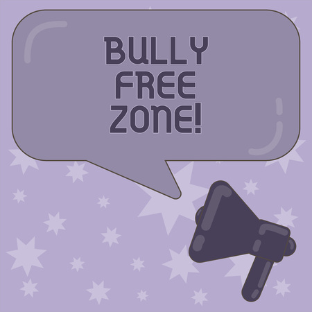 Writing note showing Bully Free Zone. Business photo showcasing Be respectful to other bullying is not allowed here Megaphone and Rectangular Color Speech Bubble with Reflection