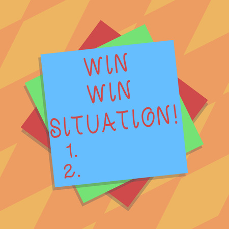 Text sign showing Win Win Situation. Conceptual photo choice which is good for everyone who is involved Multiple Layer of Blank Sheets Color Paper Cardboard photo with Shadow