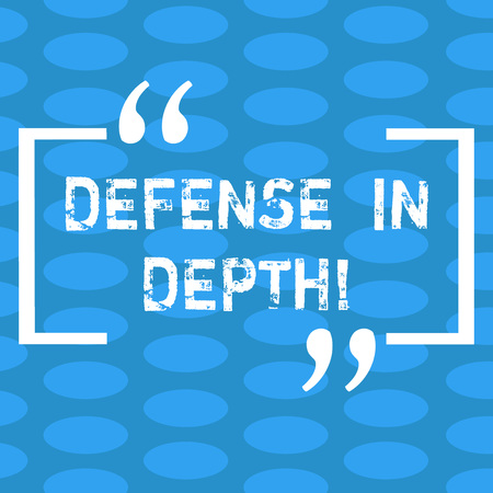 Handwriting text Defense In Depth. Concept meaning arrangement defensive lines or fortifications defend others Columns of Small Color Oval Shape Geometric Pattern in Seamless Repetition
