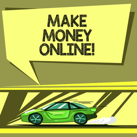 Conceptual hand writing showing Make Money Online. Business photo showcasing obtain cash earning it or by making profit using internet Car with Fast Movement icon and Exhaust Smoke Speech Bubble 版權商用圖片