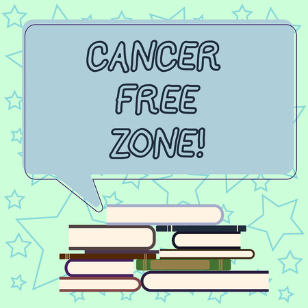 Handwriting text writing Cancer Free Zone. Concept meaning club for educating showing about means of cancer prevention Uneven Pile of Hardbound Books and Blank Rectangular Color Speech Bubble Stock Photo