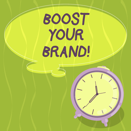 Writing note showing Boost Your Brand. Business photo showcasing describe high levels of overall customer satisfaction Blank Color Thought Speech Bubble with Outline and Alarm Clock photo