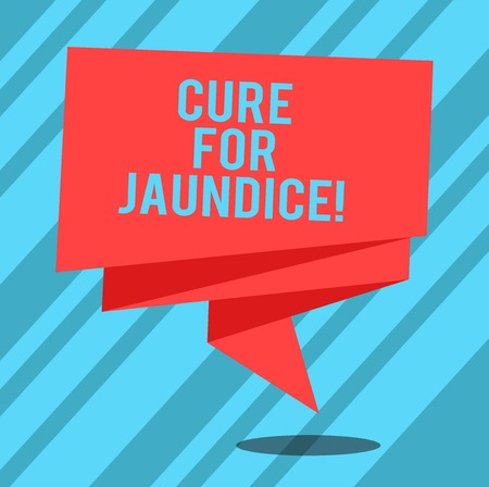 Text sign showing Cure For Jaundice. Conceptual photo often disappears on its own within two or three weeks Folded 3D Ribbon Strip Solid Color Blank Sash photo for Celebration