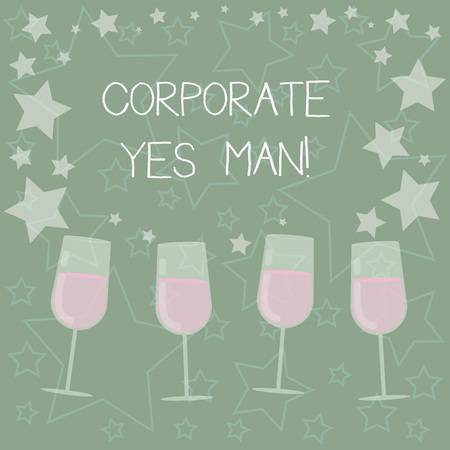 Handwriting text writing Corporate Yes Man. Concept meaning who agrees with everything that is said especially Filled Cocktail Wine Glasses with Scattered Stars as Confetti Stemware Stockfoto