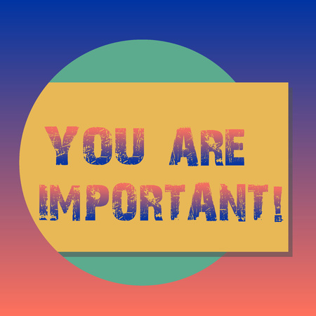 Handwriting text You Are Important. Concept meaning means that you care about something or demonstrating alot Blank Rectangular Color Shape with Shadow Coming Out from a Circle photo