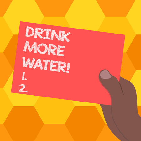 Handwriting text Drink More Water. Concept meaning increase amount of drinking water required varies everyday Drawn Hu analysis Hand Holding Presenting Blank Color Paper Cardboard photo
