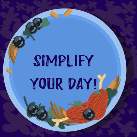 Text sign showing Simplify Your Day. Conceptual photo make simple or reduce things to basic essentials Hand Drawn Lamb Chops Herb Spice Cherry Tomatoes on Blank Color Plate