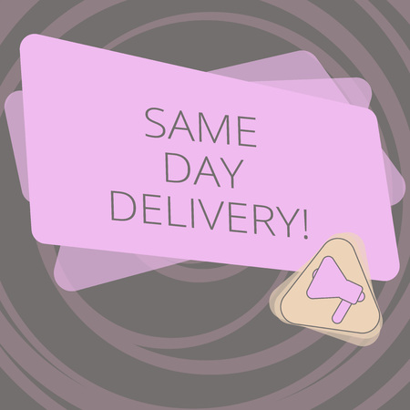 Text sign showing Same Day Delivery. Conceptual photo order will leave our warehouse Same date you ordered Megaphone Inside Triangle and Blank Color Rectangle for Announcement