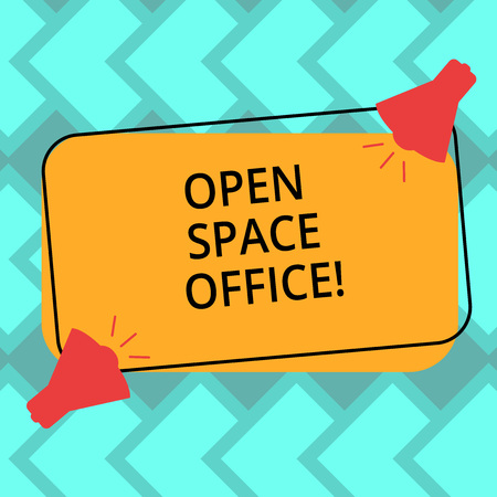 Text sign showing Open Space Office. Conceptual photo minimizes use of small enclosed rooms as private offices Two Megaphone with Sound icon on Blank Color Outlined Rectangular Shape
