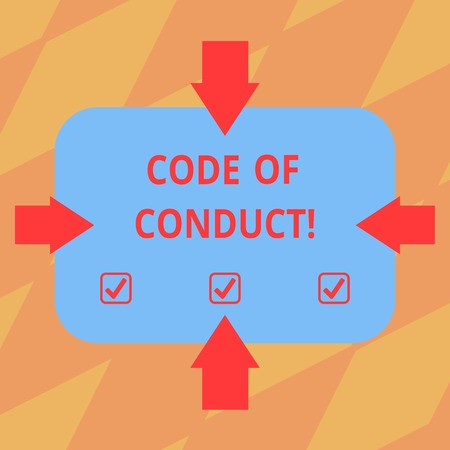 Text sign showing Code Of Conduct. Conceptual photo Ethics rules moral codes ethical principles values respect Arrows on Four Sides of Blank Rectangular Shape Pointing Inward photo 版權商用圖片