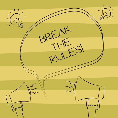 Text sign showing Break The Rules. Conceptual photo Make changes do everything different Rebellion Reform Freehand Outline Sketch of Blank Speech Bubble Megaphone Sound Idea Icon