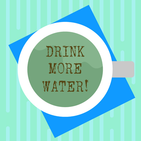 Word writing text Drink More Water. Business concept for increase amount of drinking water required varies everyday Top View of Drinking Cup Filled with Beverage on Color Paper photo Banco de Imagens