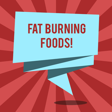 Conceptual hand writing showing Fat Burning Foods. Business photo text Certain types of food burn calories as you chew them Folded 3D Ribbon Sash Speech Bubble photo for Celebration