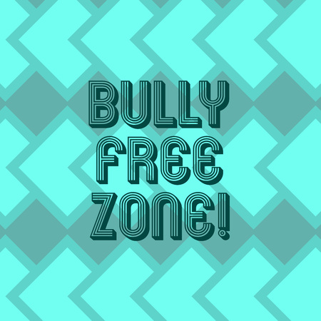 Writing note showing Bully Free Zone. Business photo showcasing Be respectful to other bullying is not allowed here Geometrical Blank Color Squares Overlapping in Seamless Repeat Pattern 写真素材