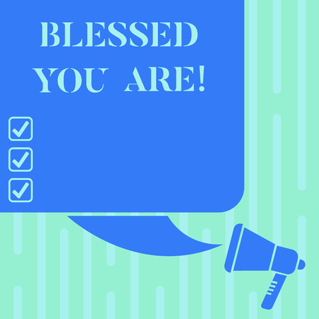 Word writing text Blessed You Are. Business concept for Spiritual gratitude believe in a greater power to have faith Color Silhouette of Blank Square Speech Bubble and Megaphone photo