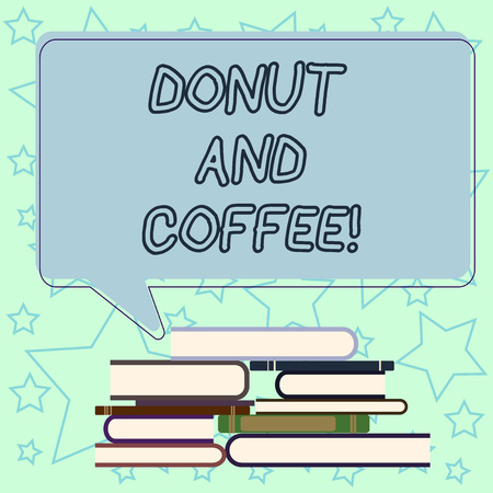 Handwriting text writing Donut And Coffee. Concept meaning common food and drink pairing in United States and Canada Uneven Pile of Hardbound Books and Blank Rectangular Color Speech Bubble 版權商用圖片