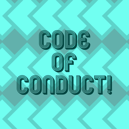 Writing note showing Code Of Conduct. Business photo showcasing Ethics rules moral codes ethical principles values respect Geometrical Blank Color Squares Overlapping in Seamless Repeat Pattern