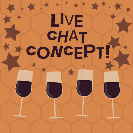 Writing note showing Live Chat Concept. Business photo showcasing web service that allows showing friends to communicate Filled Cocktail Wine Glasses with Scattered Stars as Confetti Stemware